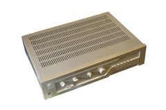 Vintage amplifier over white Royalty Free Stock Photography