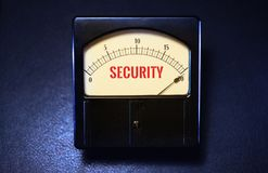 Vintage Analog Cyber Security Meter on Maximum royalty free stock images