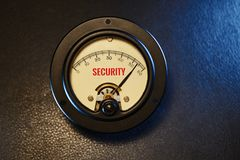 Vintage Analog Cyber Security Meter on Maximum stock images