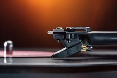 Tonearm with pickup head. Royalty Free Stock Images