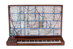 Vintage analog modular synthesizer with patchcords stock photography