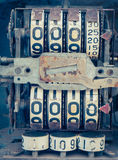 Vintage analog oil meter of a pump,digits of oil pump mechanical. Counter. Retro style photo Stock Photography
