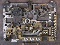 Vintage analog recorder. The mechanism of the old tape recorder stock photo
