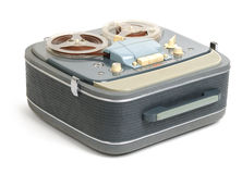Vintage analog recorder reel to reel on white Royalty Free Stock Image