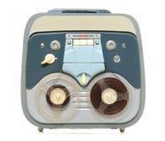 Vintage analog recorder reel to reel on white Stock Image