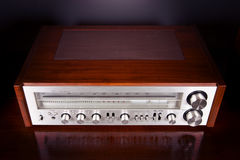 Vintage Analog Retro Stereo Radio Receiver Shiny Front Panel Royalty Free Stock Photo