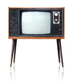 Vintage analog television , clipping path. Vintage analog television  over white background, clipping path Stock Photo