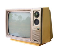 Vintage analog television isolated, clipping path. Stock Photography