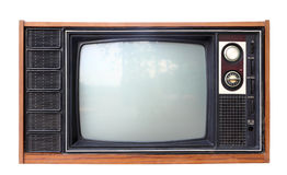 Vintage analog television isolated, clipping path. Stock Photo