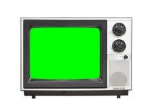 Vintage Analog Television Isolated On White with Chroma Key Gree Royalty Free Stock Images