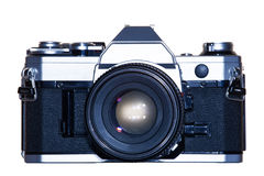 Vintage analogue film camera isolated background Royalty Free Stock Photo