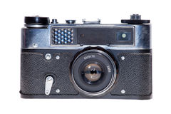 Vintage analogue film camera isolated background Royalty Free Stock Images