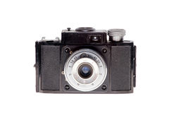 Vintage analogue film camera isolated background Royalty Free Stock Photos