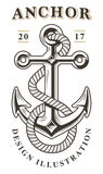 Vintage anchor emblem. On white background. Text is on the separate layer Stock Image
