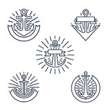 Vintage anchors linear logo set or line nautical labels in retro style isolated on white background Stock Images