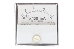 Vintage ancient ampermeter scale isolated. On white stock images