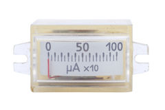 Vintage ancient ampermeter scale isolated. On white royalty free stock photography