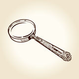 Vintage ancient drawn magnifier Royalty Free Stock Photography