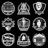 Vintage Ancient Greece Labels Set. With greek Acropolis historical objects and elements on black background isolated vector illustration Royalty Free Stock Image
