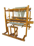 Vintage ancient wooden loom isolated over white Royalty Free Stock Photos