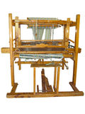 Vintage ancient wooden loom isolated over white Royalty Free Stock Images