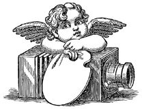 Vintage angel with antique camera graphic stock illustration
