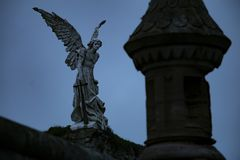 Rock Angel at Cementery Royalty Free Stock Photography