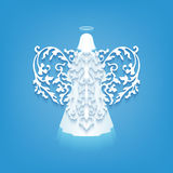 Vintage Angel Wing. Vector white angel with wings on a blue background. Beautiful applique. Abstract design. Vector illustration Royalty Free Stock Images
