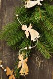 Vintage Angels Wooden Christmas Decoration Royalty Free Stock Images