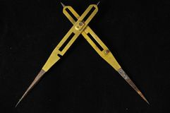 Vintage Angle Measuring Tool. On a Black Background Royalty Free Stock Photos