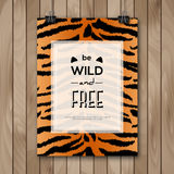 Vintage Animal Skin Background and Typography Stock Image