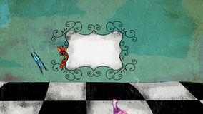Vintage animated chessboard cartoon with butterflies stock footage