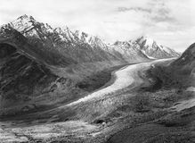 Vintage analogue film photo of Zanskar Glacier. Vintage analogue film photograph of glacier Drang Drung, 22 kms long, near Pansi-La pass (4350m), part of the Royalty Free Stock Images