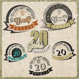 Vintage 20 anniversary collection. Twenty anniversary design in retro style. Vintage labels for anniversary greeting. Hand lettering style typographic and Stock Images