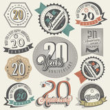 Vintage 20 anniversary collection. Royalty Free Stock Photo