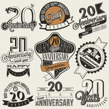 Vintage 20 anniversary collection. Twenty anniversary design in retro style. Vintage labels for anniversary greeting. Hand lettering style typographic and Stock Image