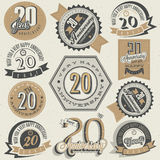 Vintage 20 anniversary collection. Twenty anniversary design in retro style. Vintage labels for anniversary greeting. Hand lettering style typographic and Royalty Free Stock Photography