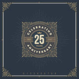 Vintage Anniversary logo emblem. With flourishes calligraphic ornamental elements royalty free illustration