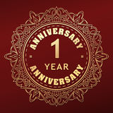 Vintage anniversary 1 year round emblem. Retro styled vector dec Stock Image
