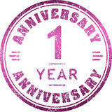 Vintage anniversary 1 year round grunge round stamp. Retro style. D vector illustration Stock Images