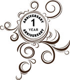 Vintage anniversary 1 year unusual round floral emblem. Retro st Stock Photography