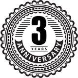 Vintage anniversary 3 years round emblem. Retro styled  ba Royalty Free Stock Photo