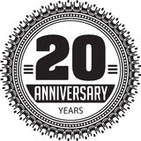 Vintage anniversary 20 years round emblem. Retro styled vector b. Ackground in black tones vector illustration