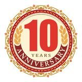 Vintage anniversary 10 years round emblem. Retro styled vector b. Ackground in very bright tones royalty free illustration