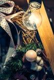 Vintage antiguo o decoración retra de los juguetes de la Navidad Imagen de archivo libre de regalías