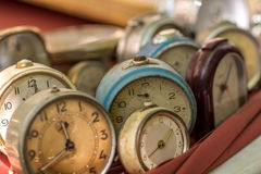 Vintage antiquarian clocks stock photography