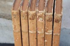 Vintage antiquarian old books royalty free stock photo