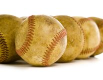 Vintage, antique baseballs royalty free stock images
