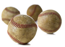 Vintage Antique baseballs on white Stock Photography