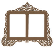 Vintage antique brass frame. A cutout vintage brass frame in an antique looking filigree design Royalty Free Stock Image